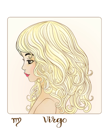 Virgo. A young beautiful girl In the form of one of the signs of the zodiac.