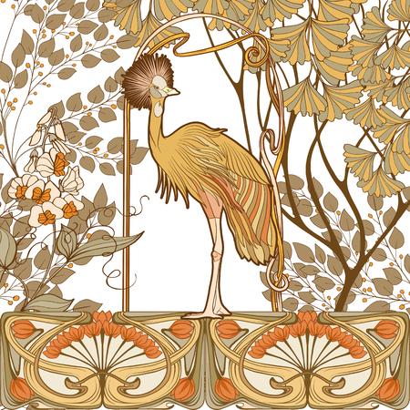 ポスター、装飾的な花と鳥のアールヌーボースタイル、ヴィンテージ、古い、レトロなスタイル。