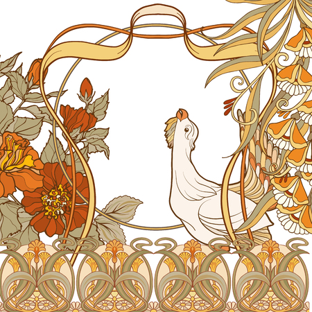 Poster, background with decorative flowers and bird in art nouveau style, vintage, old, retro style. Archivio Fotografico - 106702302
