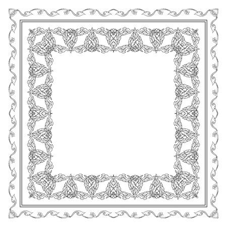 Modello quadrato con elementi decorativi di contorno tradizionali