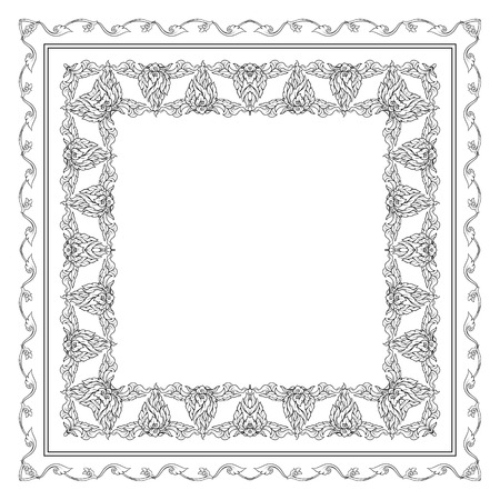 Square pattern with decorative outline elements of traditional