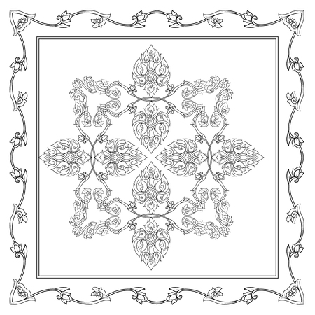 Square pattern with decorative outline elements of traditional Banco de Imagens - 106702372
