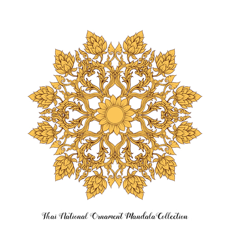 Mandala of traditional Thai ornament. Stock illustration.