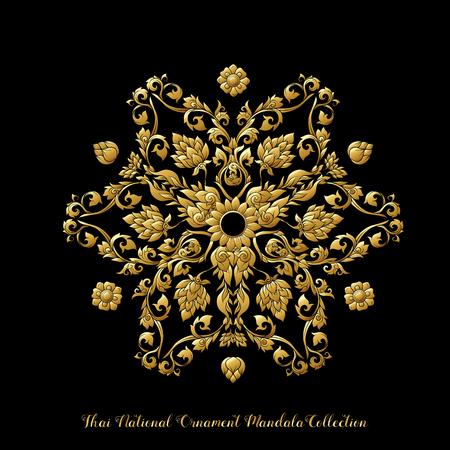Mandala de oro de adorno tradicional tailandés. Ilustración de stock.