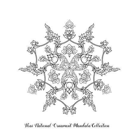 Mandala di contorno dell'ornamento tailandese tradizionale. Illustrazione di riserva