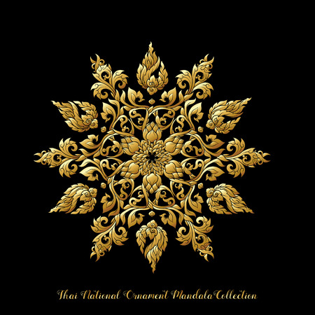 Gouden mandala van traditioneel Thais ornament. Voorraad illustratie.