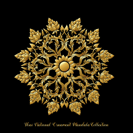 Gold mandala of traditional Thai ornament. Stock illustration.