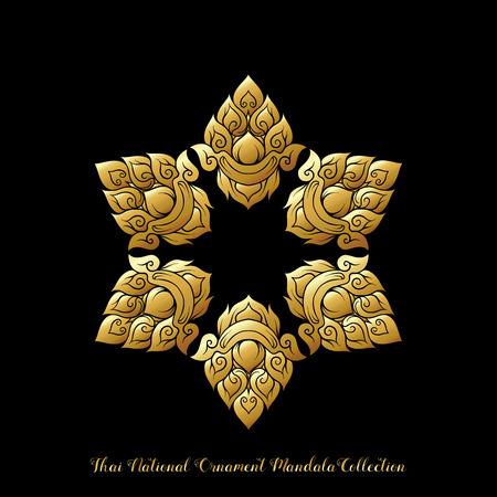 Gold mandala of traditional Thai ornament. Stock illustration.