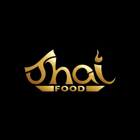 Logo for Thai food, restaurantin gold. Vector illustration.