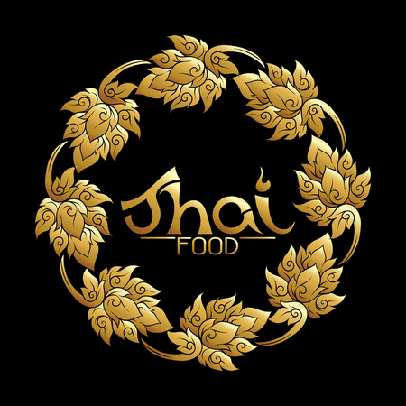 Logo for Thai food, restaurantwith traditional thai ornament, pa Archivio Fotografico - 106702733