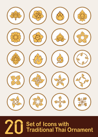 Set of ikons with  decorative elements of traditional Thai ornam Stock Vector - 106702745