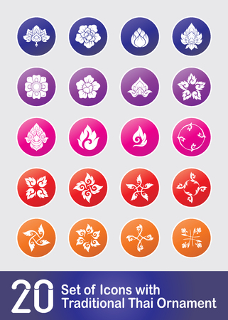 Set of ikons with  decorative elements of traditional Thai ornam Stock Vector - 106702751