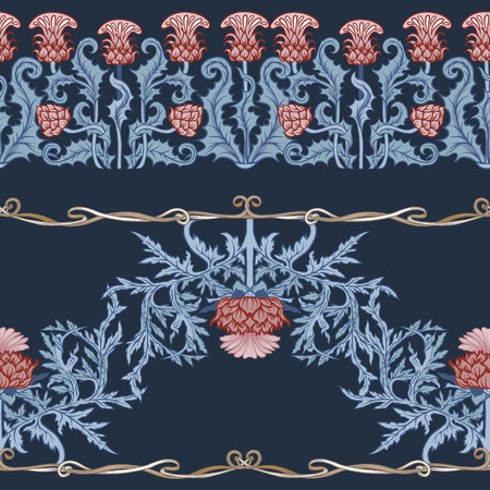 Seamless pattern with thistle flower, background in   art nouveau style, vintage, old, retro style. Stock Illustratie