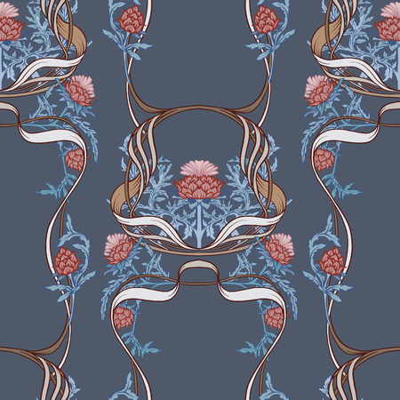 Seamless pattern with thistle flower, background in   art nouveau style, vintage, old, retro style.