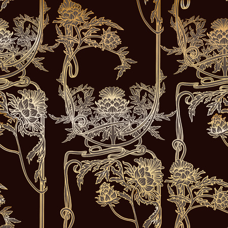 Seamless pattern with thistle flower, background in   art nouveau style, vintage, old, retro style. Illustration