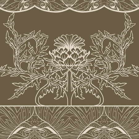 Seamless pattern with thistle flower, background in   art nouveau style, vintage, old, retro style. Ilustração