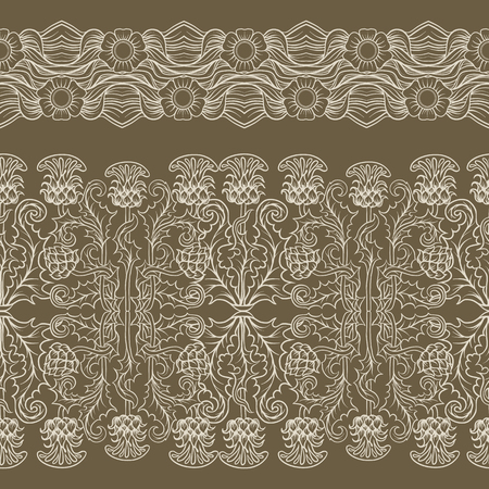 Seamless pattern with thistle flower, background in   art nouveau style, vintage, old, retro style.  イラスト・ベクター素材