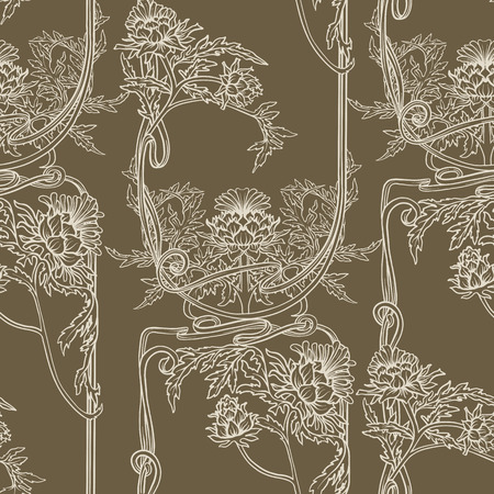 Seamless pattern with thistle flower, background in   art nouveau style, vintage, old, retro style. Ilustrace