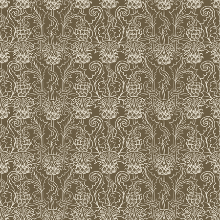 Seamless pattern with thistle flower, background in   art nouveau style, vintage, old, retro style. 向量圖像
