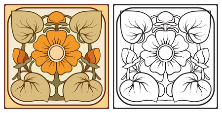 Outline hand drawing coloring page for the adult coloring book w Vector Illustration