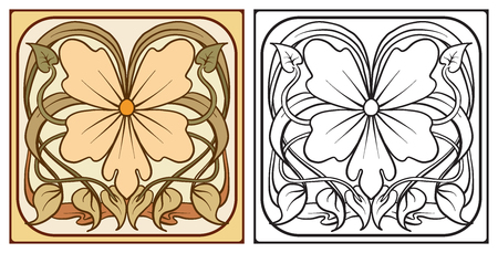 Outline hand drawing coloring page for the adult coloring book w
