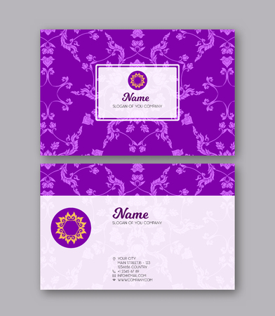 A template for the two sides of the  business card, decorated wi Иллюстрация