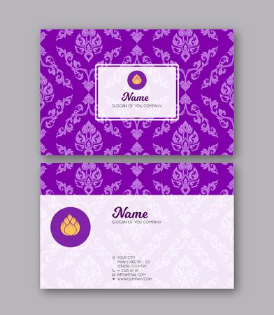 Een sjabloon voor de twee zijden van het visitekaartje, gedecoreerd met Vector Illustratie