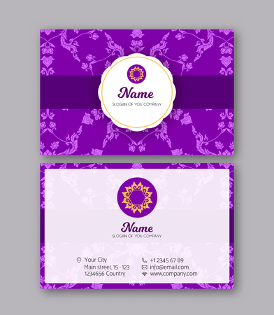 A template for the two sides of the  business card, decorated wi 写真素材 - 106663187