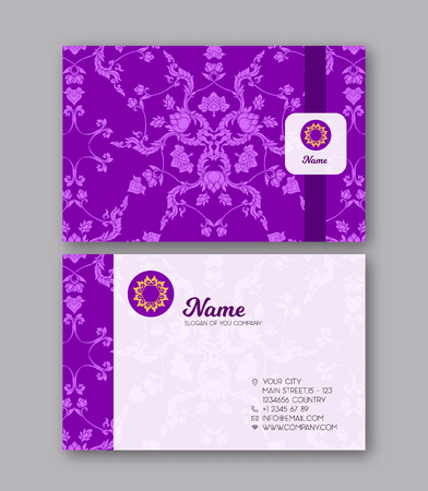 A template for the two sides of the  business card, decorated wi Ilustração