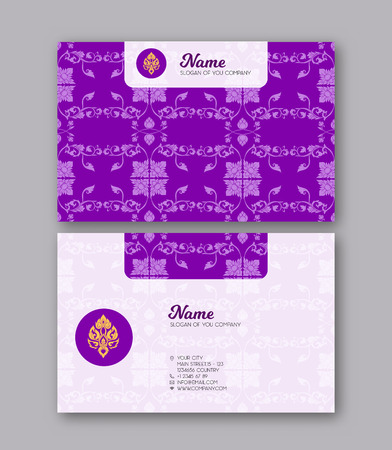 A template for the two sides of the  business card, decorated with traditional Thai ornaments. Stock vector illustration.