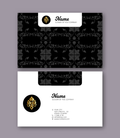 A template for the two sides of the  business card, decorated with traditional Thai ornaments. Stock vector illustration. 版權商用圖片 - 106638863