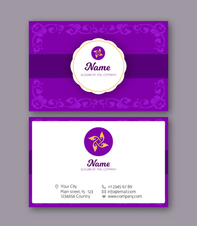 A template for the two sides of the  business card, decorated wi 일러스트
