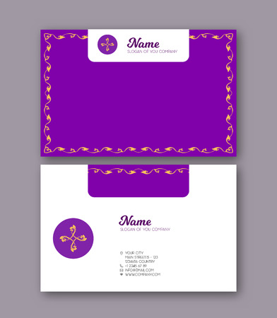 A template for the two sides of the  business card, decorated wi Stock Illustratie