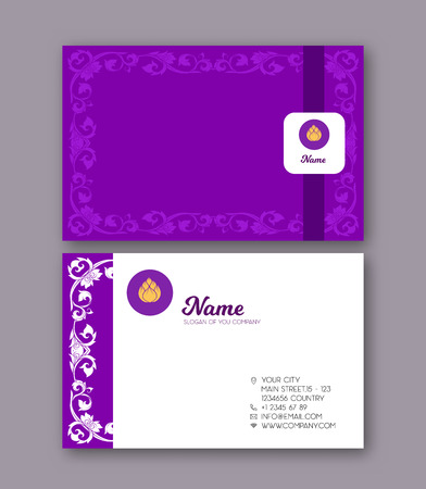 A template for the two sides of the  business card, decorated wi 向量圖像