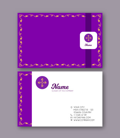 A template for the two sides of the  business card, decorated wi Stock fotó - 106663904