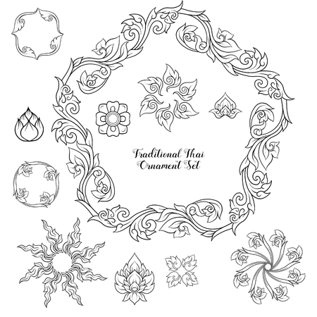 Set of outline decorative elements of traditional Thai ornament.