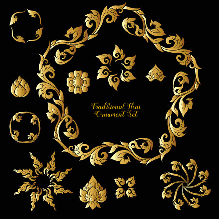Set of gold decorative elements of traditional Thai ornament.