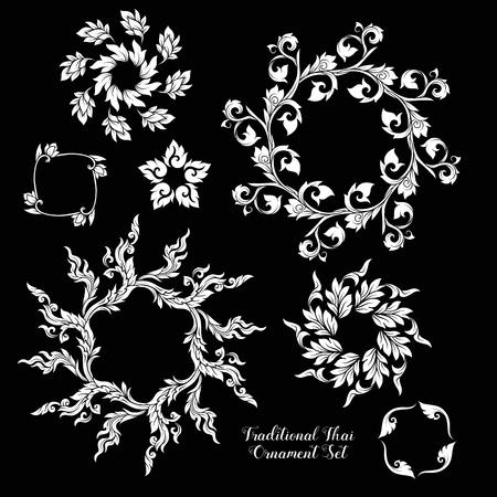 Set of decorative elements of traditional Thai ornament. Illustration