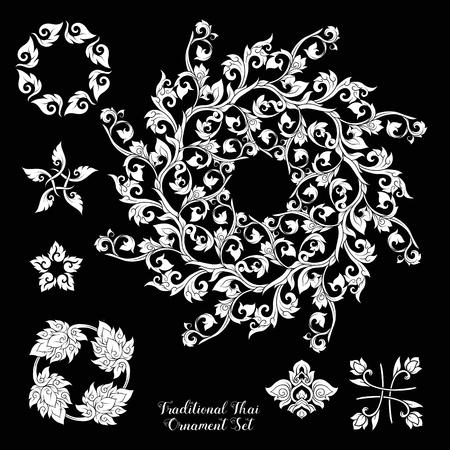 Set of decorative elements of traditional Thai ornament. Ilustração