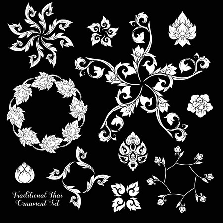 Set of decorative elements of traditional Thai ornament. 版權商用圖片 - 106844351