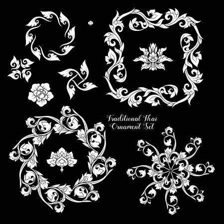 Set of decorative elements of traditional Thai ornament. 向量圖像