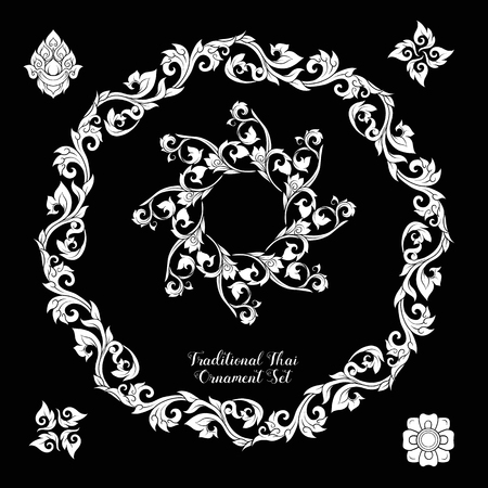 Set of decorative elements of traditional Thai ornament. Иллюстрация