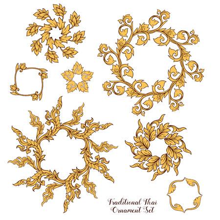 Set of elements of traditional Thai ornament. Stock illustration 版權商用圖片 - 106844359