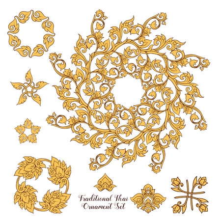 Set of elements of traditional Thai ornament. Stock illustration