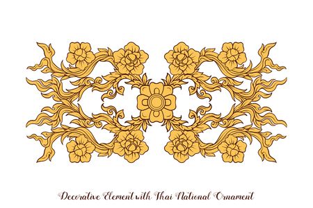 Set of elements of traditional Thai ornament.