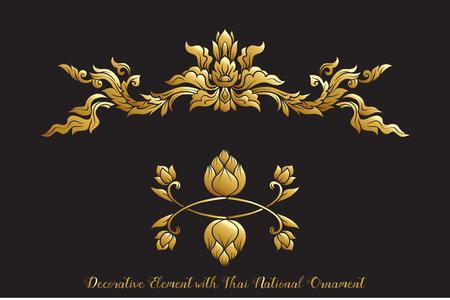 Conjunto de elementos de oro del adorno tradicional tailandés.