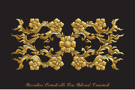 Set of gold elements of traditional Thai ornament.