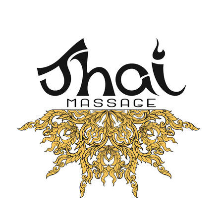 Logo for Thai massage with traditional thai ornament, pattern el Çizim