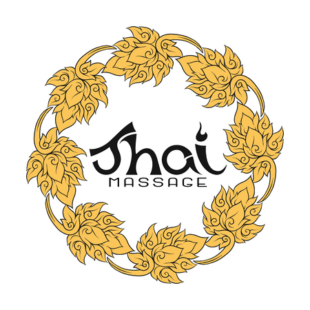 Logo for Thai massage with traditional thai ornament, pattern el 向量圖像