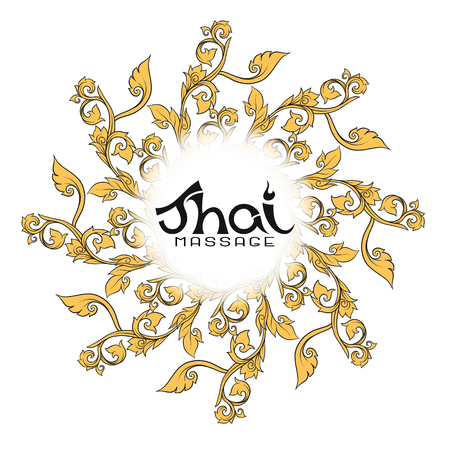 Logo for Thai massage with traditional thai ornament, pattern el Illustration